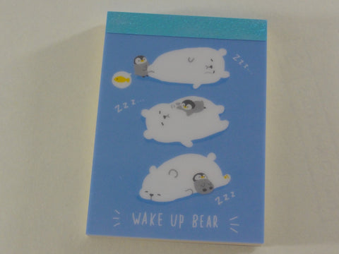 Cute Kawaii Mind Wave Bear and Penguin Mini Notepad / Memo Pad - Stationery Design Writing Collection