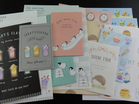 Cute Kawaii 8 Food Drink Penguin Hedgehog MINI Letter Paper + Envelope Theme Set