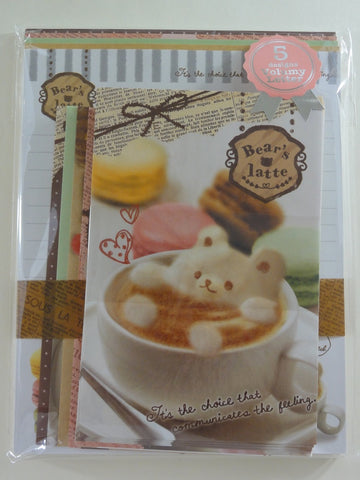 Cute Kawaii Q-lia Bear's Latte Letter Set Pack - Stationery Penpal Writing Paper Envelope
