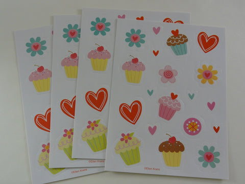 Cute Kawaii Love Cupcakes Sticker Sheets - for Journal Planner Craft