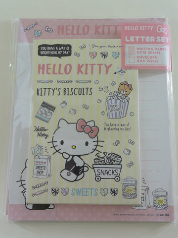 Cute Kawaii Hello Kitty Sweets Snacks Letter Set Pack - Stationery Writing Paper Envelope Penpal