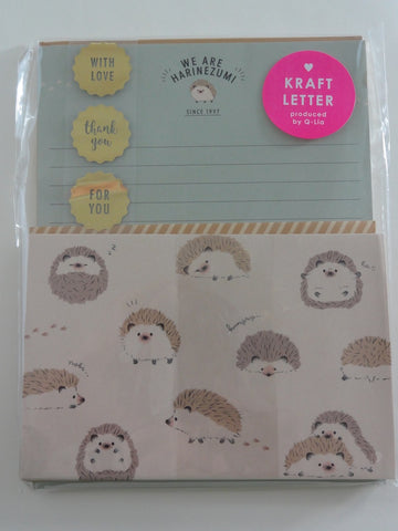 Cute Kawaii Mind Wave Hedgehog Letter Set Pack - B - Stationery Writing Paper Envelope Pen Pal