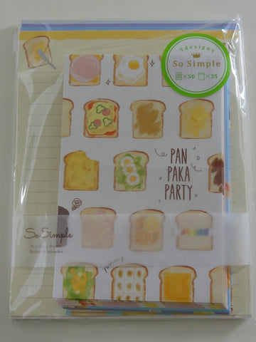 Cute Kawaii Crux Bread Breakfast Pan Letter Set Pack - Stationery Writing Paper Penpal