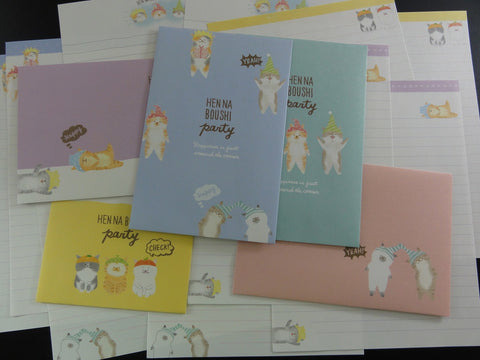 Cute Kawaii Crux Cat Party Letter Sets - Stationery Writing Paper Envelope Penpal
