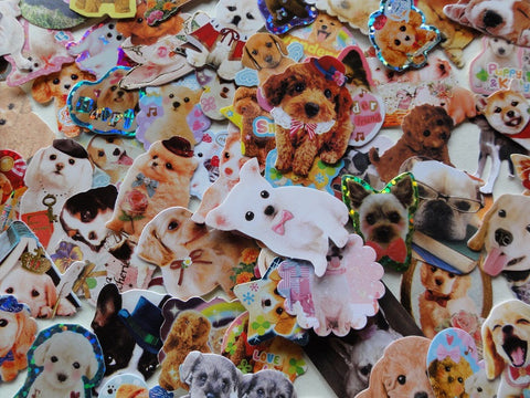 Cute Lovely Dog Puppy Flake Stickers - 74 pcs