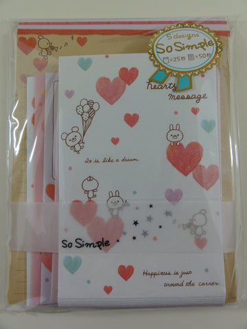 Cute Kawaii Crux Bear Hearty Message Heart Valentine Letter Set Pack - Stationery Writing Paper Penpal
