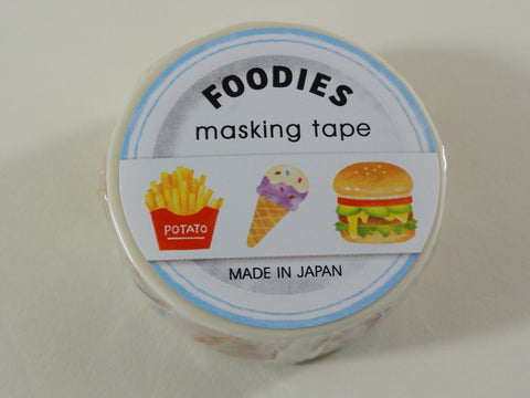 Cute Kawaii Mind Wave Foodies Washi / Masking Deco Tape - D - Burger Hotdog Fries Ice Cream - for Scrapbooking Journal Planner Craft