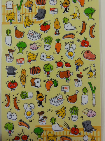 Cute Kawaii Mind Wave Healthy Fruit and Vegetable Sticker Sheet - for Journal Planner Craft