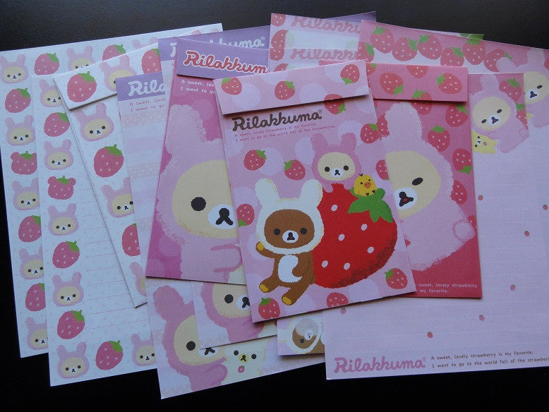 San-X Rilakkuma Bear Strawberry Letter Sets