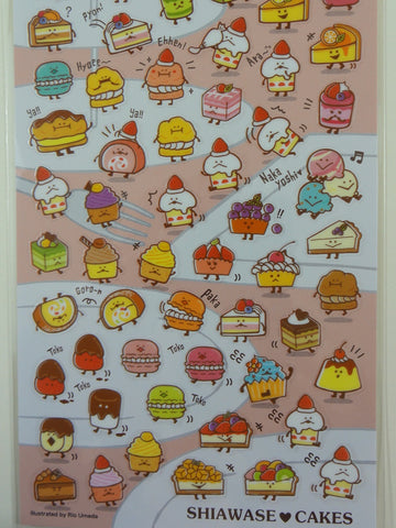 Cute Kawaii Mind Wave Sweet Fruit Cakes Sticker Sheet - for Journal Planner Craft