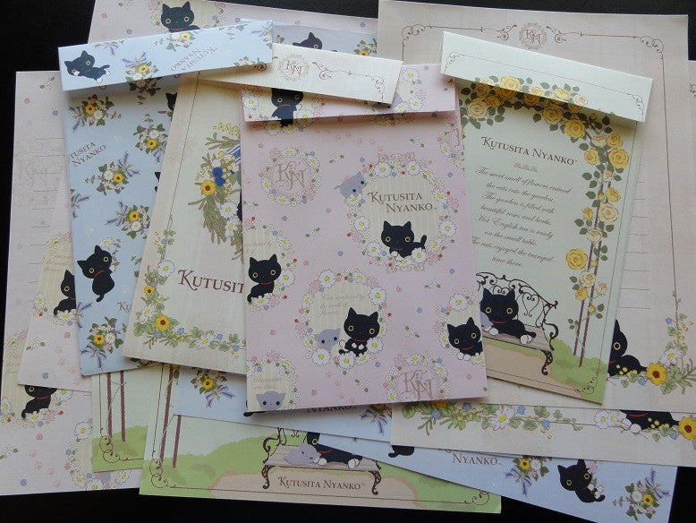 San-X Kutusita Nyanko English Tea and Flower Garden Letter Sets - A