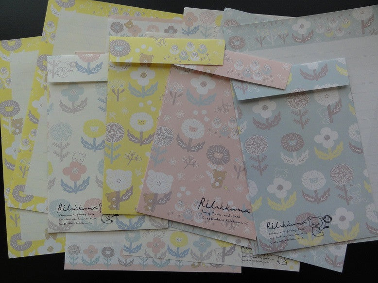 San-X Rilakkuma Bear Flower Garden Hide and Seek Letter Sets