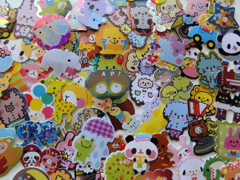 z Cute Animals Zoo Variety Flake Sack Stickers - 80 pcs
