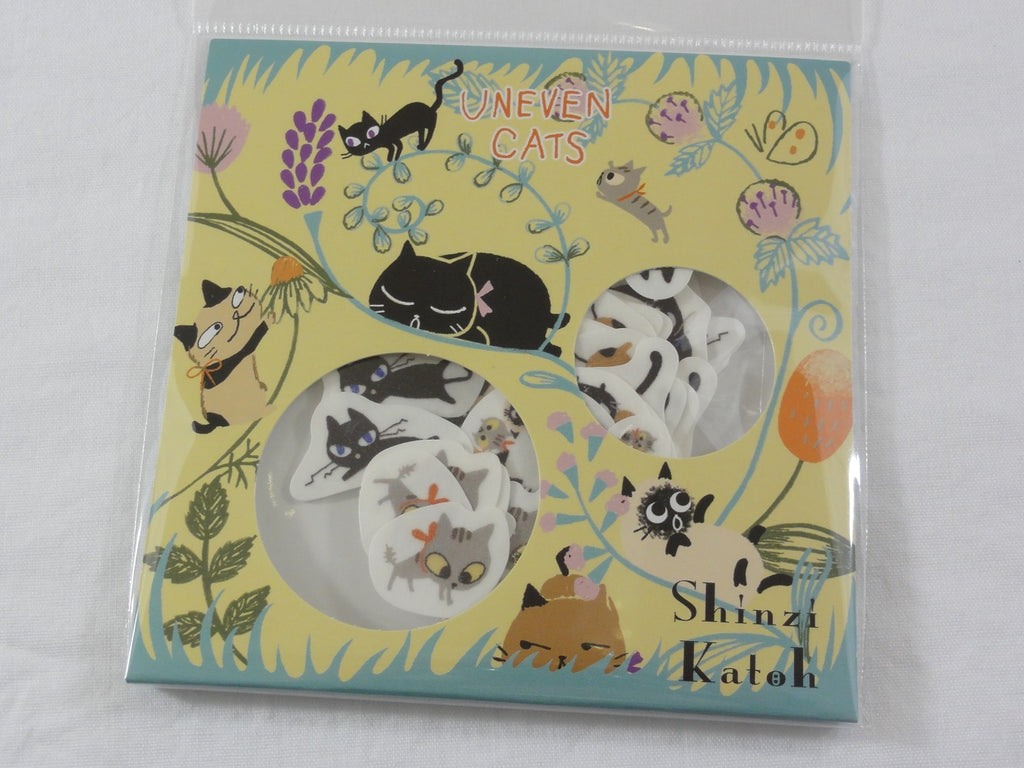 Cute Kawaii Cats Flake Stickers Sack - Shinzi Katoh Japan - for Journal Agenda Planner Scrapbooking Craft