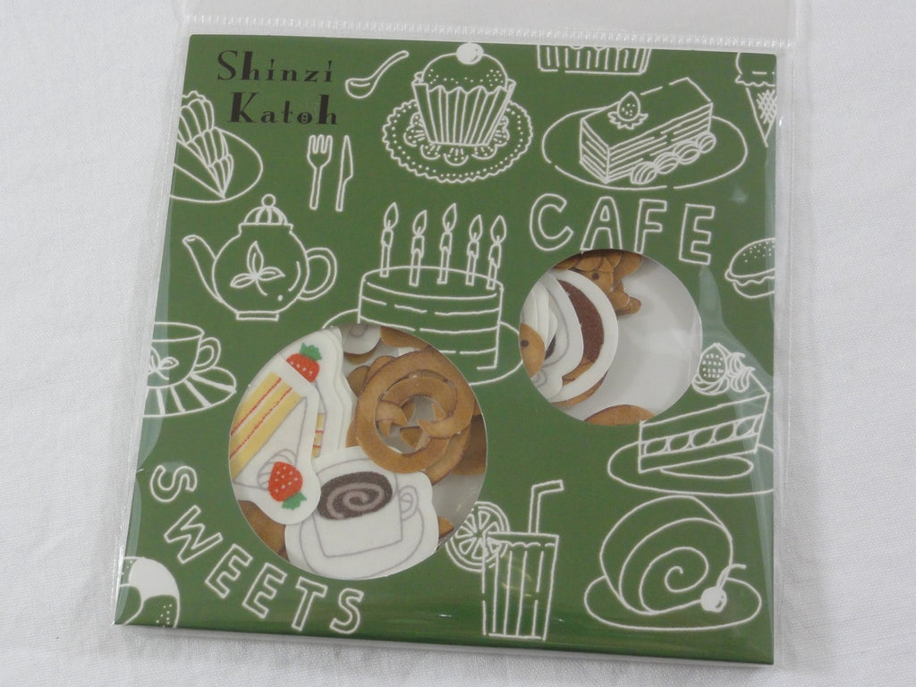 Cute Kawaii Classic Cafe Sweet Bakery Flake Stickers Sack - Shinzi Katoh Japan - for Journal Agenda Planner Scrapbooking Craft