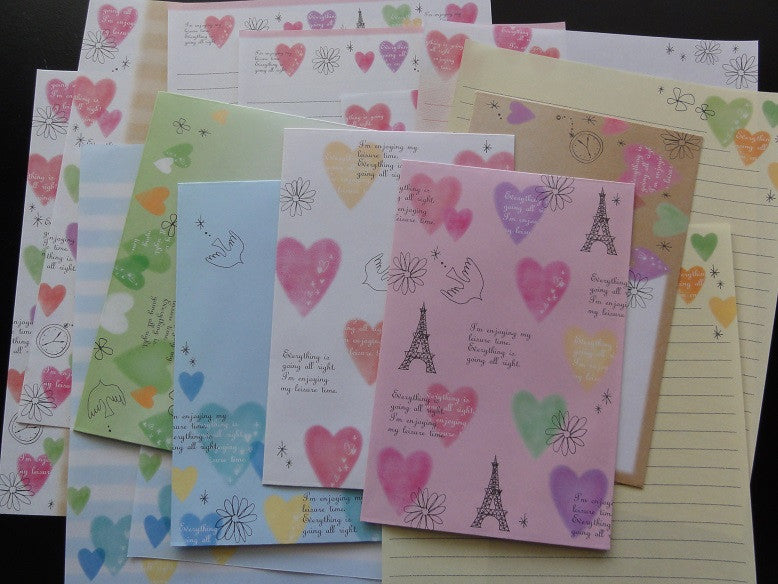 Kamio Hearts Letter Sets - A - Stationery Writing Paper Envelope