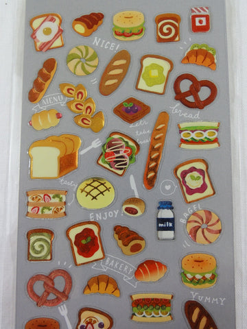 Cute Kawaii Mind Wave Bread Warm Bakery Pretzel Food Sticker Sheet - for Journal Planner Craft