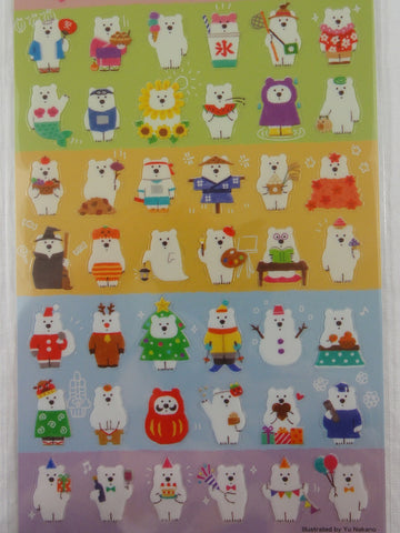 Cute Kawaii Mind Wave Bear of Every Season Sticker Sheet - for Journal Planner Craft