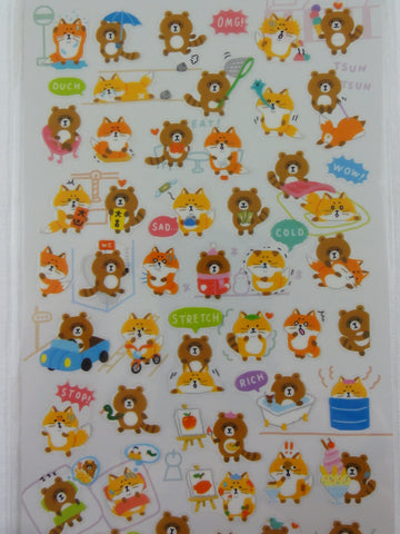 Cute Kawaii Mind Wave Racoon Fox Nature Forest Sticker Sheet - for Journal Planner Craft
