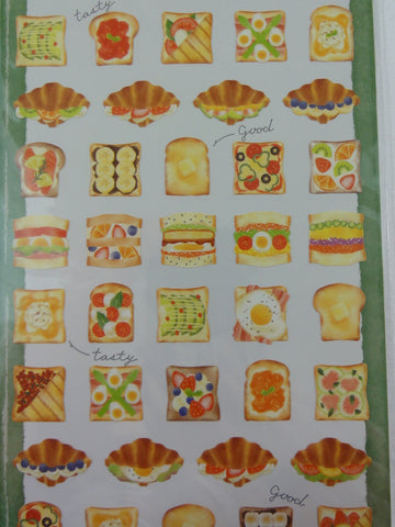 Cute Kawaii Mindwave Foodies Sticker Sheet - C - Healthy Bread Breakfast Sandwich Croissant Fruit  - for Journal Planner Craft