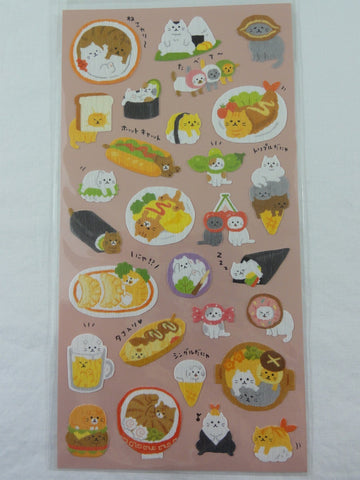 Cute Kawaii Mindwave Cat and Food Sticker Sheet - for Journal Planner Craft