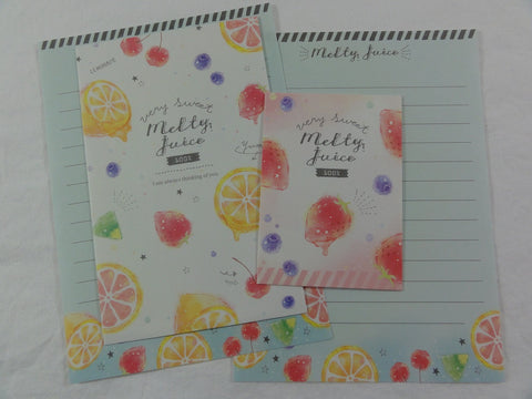 Cute Kawaii Crux Sweet Melty Juice Strawberry Fruit Mini Letter Sets - Small Writing Note Paper Envelope Set Stationery