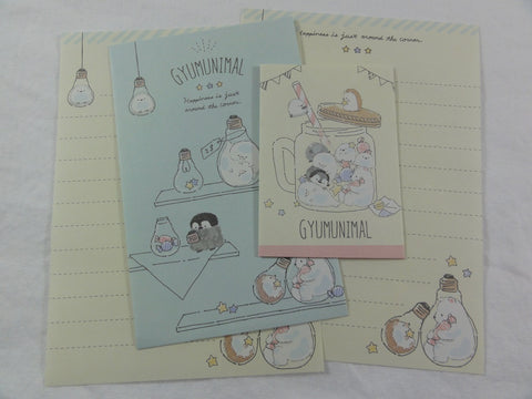 Cute Kawaii Crux Hedgehog Penguin Bear Gyumunimal Mini Letter Sets - Small Writing Note Envelope Set Stationery