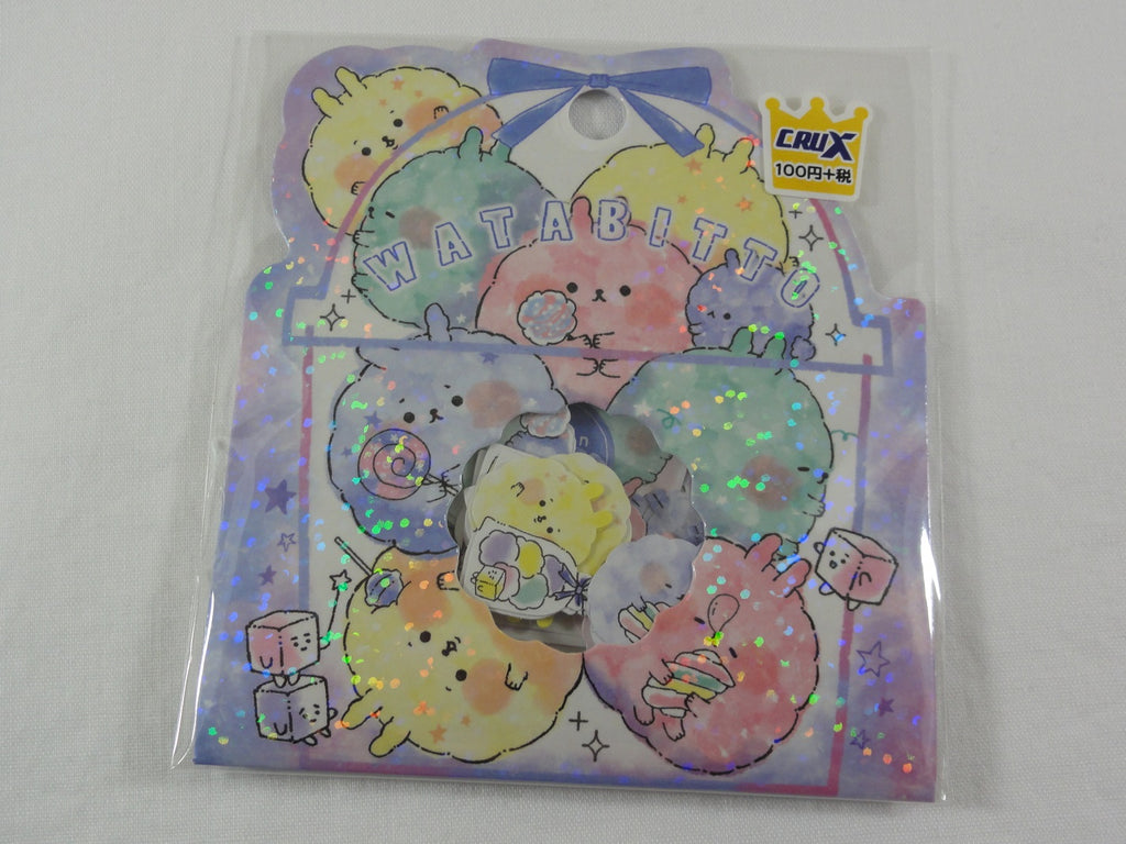 Cute Kawaii Crux Watabitto Cotton Candy Sweet Flake Stickers Sack - for Journal Planner Scrapbooking Craft