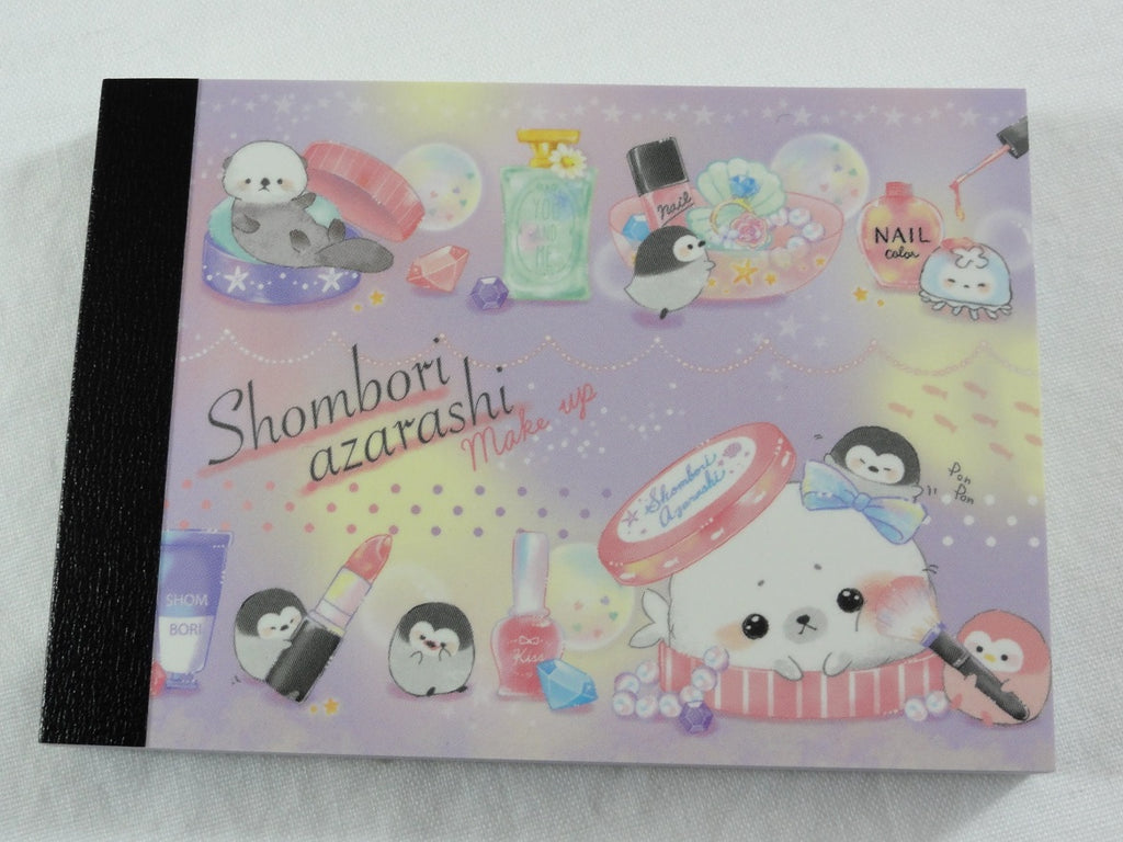 Cute Kawaii Crux Shombori Azarashi Seal Penguin Friends Mini Notepad / Memo Pad - D - Stationery Designer Paper Collection