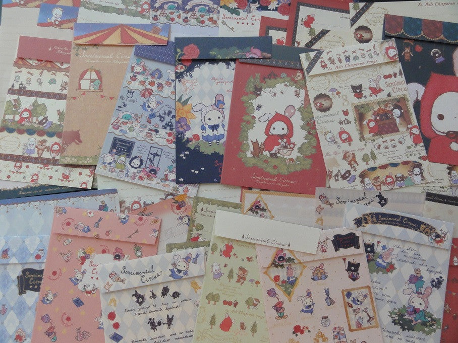 San-X Sentimental Circus Letter Paper + Envelope Theme Set (Red Riding Hood+Alice)