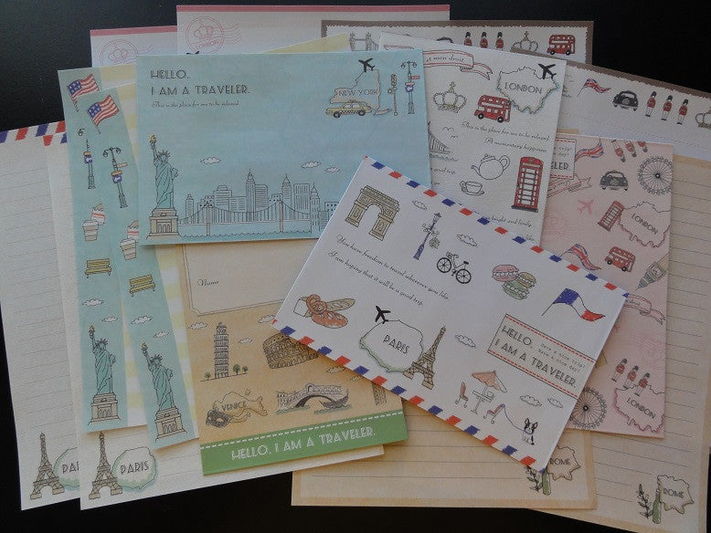 Kamio Traveler London Paris Rome New York Europe Letter Sets