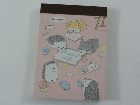 Cute Kawaii Kamio Hedgehog Dog Friends Homework Study Craft Time Mini Notepad / Memo Pad - Stationery Design Writing Collection
