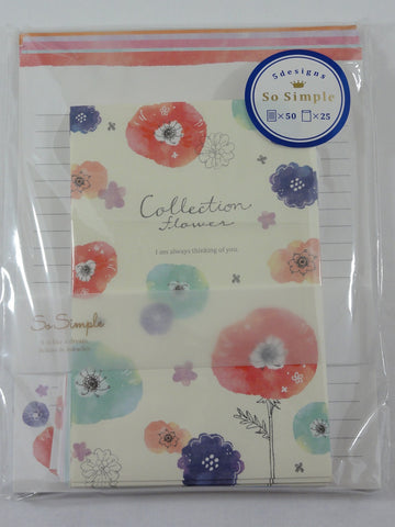 Cute Kawaii Crux Collection Flower Letter Set Pack - Stationery Writing Paper Penpal Collectible