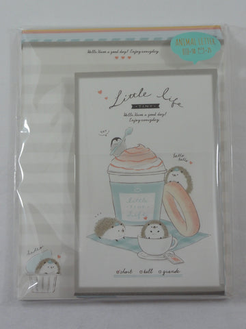 Cute Kawaii Kamio Little Cafe Time Hedgehog Penguin Letter Set Pack - Stationery Writing Paper Penpal Collectible