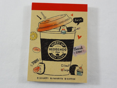 Cute Kawaii Crux Hedgehog Cafe Coffee Drink Mini Notepad / Memo Pad - Stationery Designer Paper Collection
