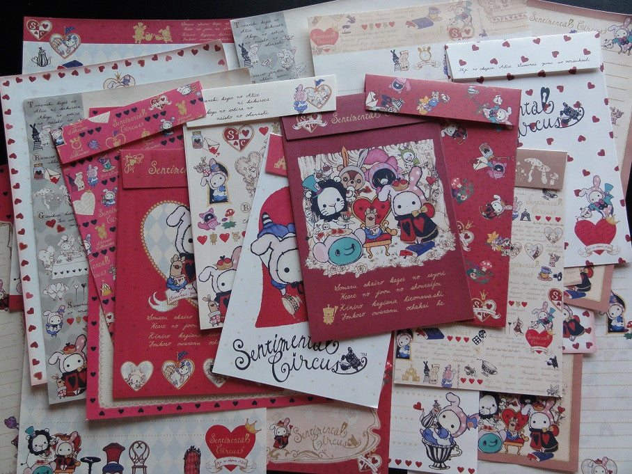 San-X Sentimental Circus Alice Letter Paper + Envelope Theme Set - B