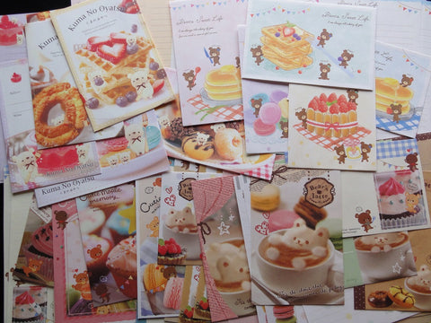 Cute Kawaii Bear Sweet and Latte Letter Paper + Envelope Theme Set