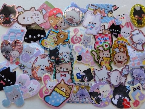 Cat Kitten Kitty theme Flake Stickers - 40 pcs