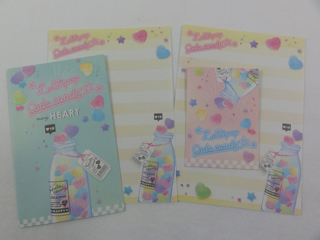 Cute Kawaii Crux Jar of Heart Candy Pop Mini Letter Sets - Small Writing Note Envelope Set Stationery
