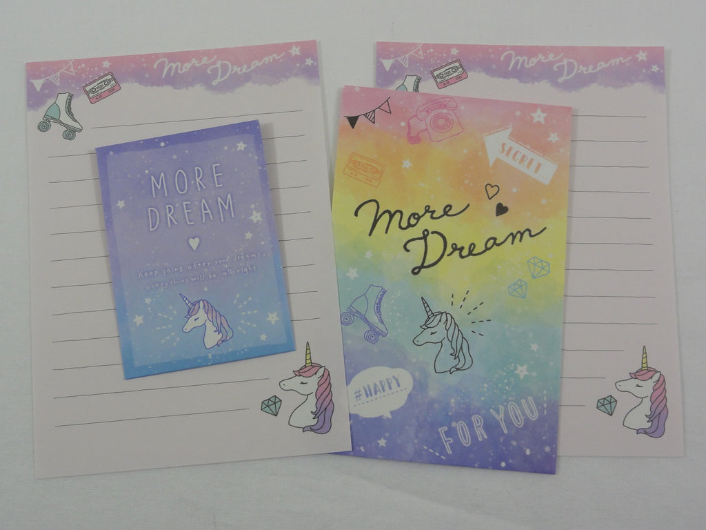 Cute Kawaii Crux Unicorn Dream Mini Letter Sets - Small Writing Note Envelope Set Stationery