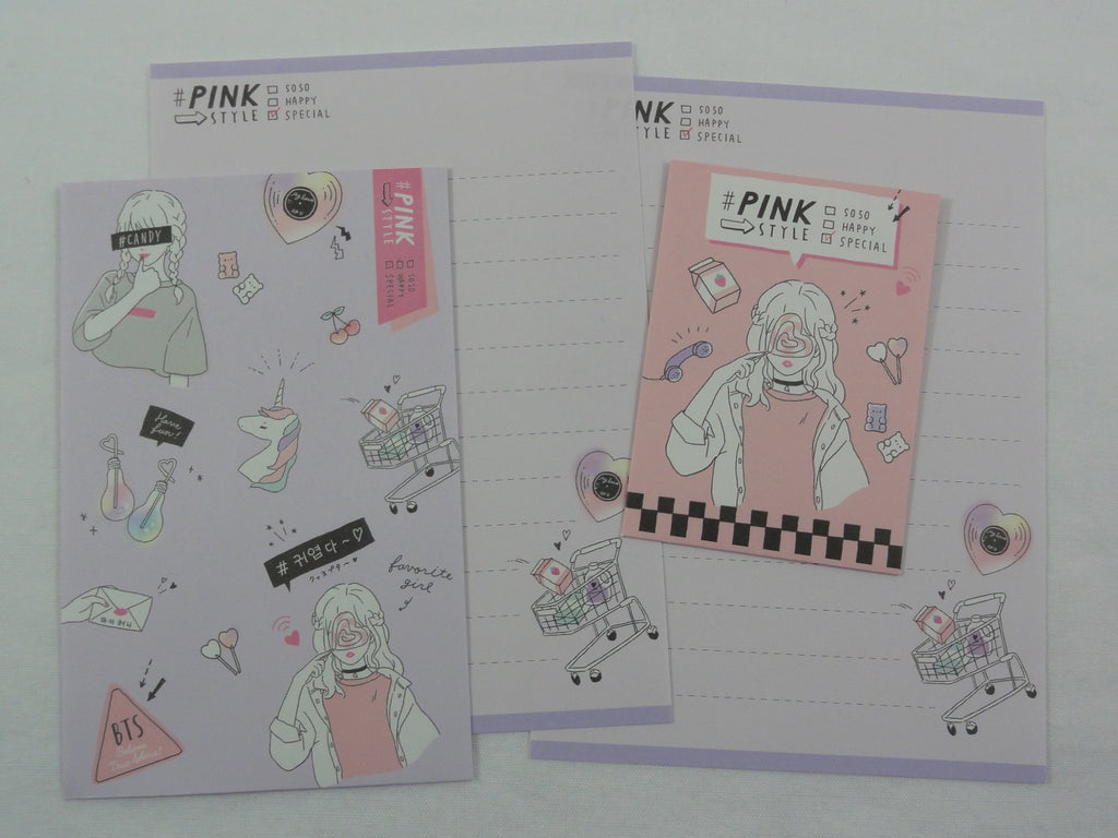 Cute Kawaii Crux Pink Style Mini Letter Sets - Small Writing Note Envelope Set Stationery