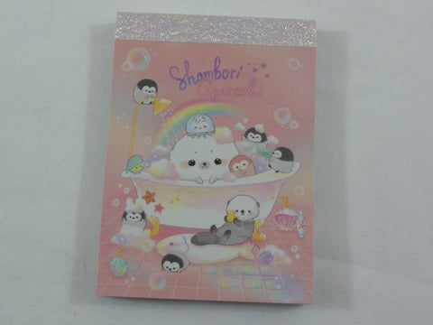 Cute Kawaii Crux Shombori Azarashi Seal Penguin Friends Mini Notepad / Memo Pad - E - Stationery Designer Paper Collection