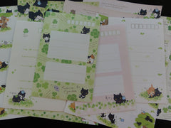 Kawaii Cute San-X Kutusita Nyanko Cat Clover Green Happy Friends Letter Sets - A