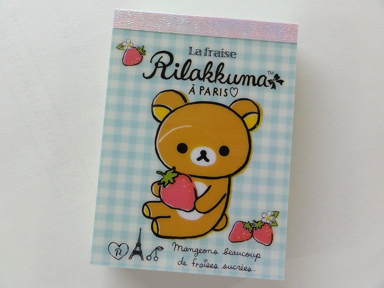 Kawaii Cute San-X Rilakkuma La Fraise Paris Mini Notepad / Memo Pad - C