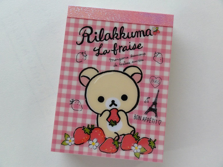 Kawaii Cute San-X Rilakkuma La Fraise Paris Mini Notepad / Memo Pad - D