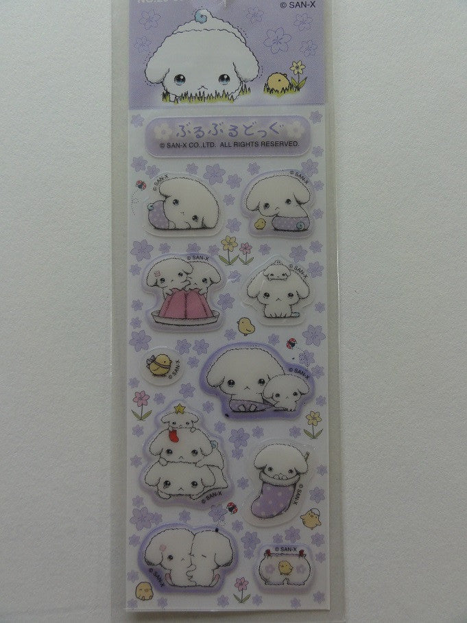 z Kawaii Cute San-X Buru Buru Dog Small Sticker Sheet - Purple