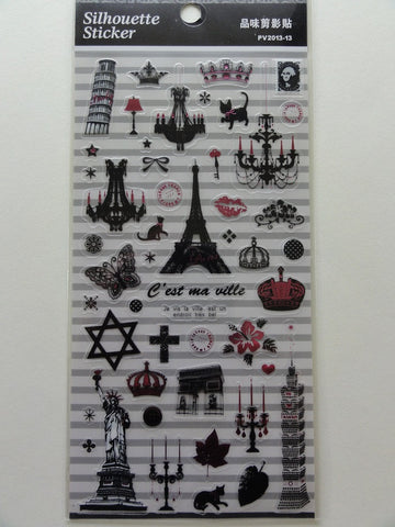 Paris Europe Travel Silhouete Sticker Sheet