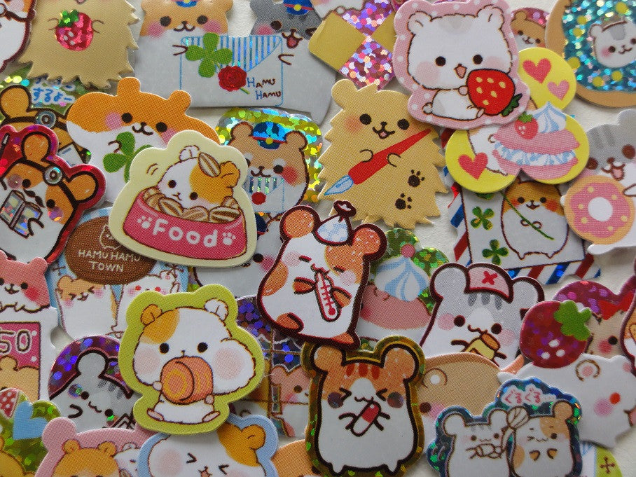 Cute Kawaii Hamster Pet Flake Stickers - Rare