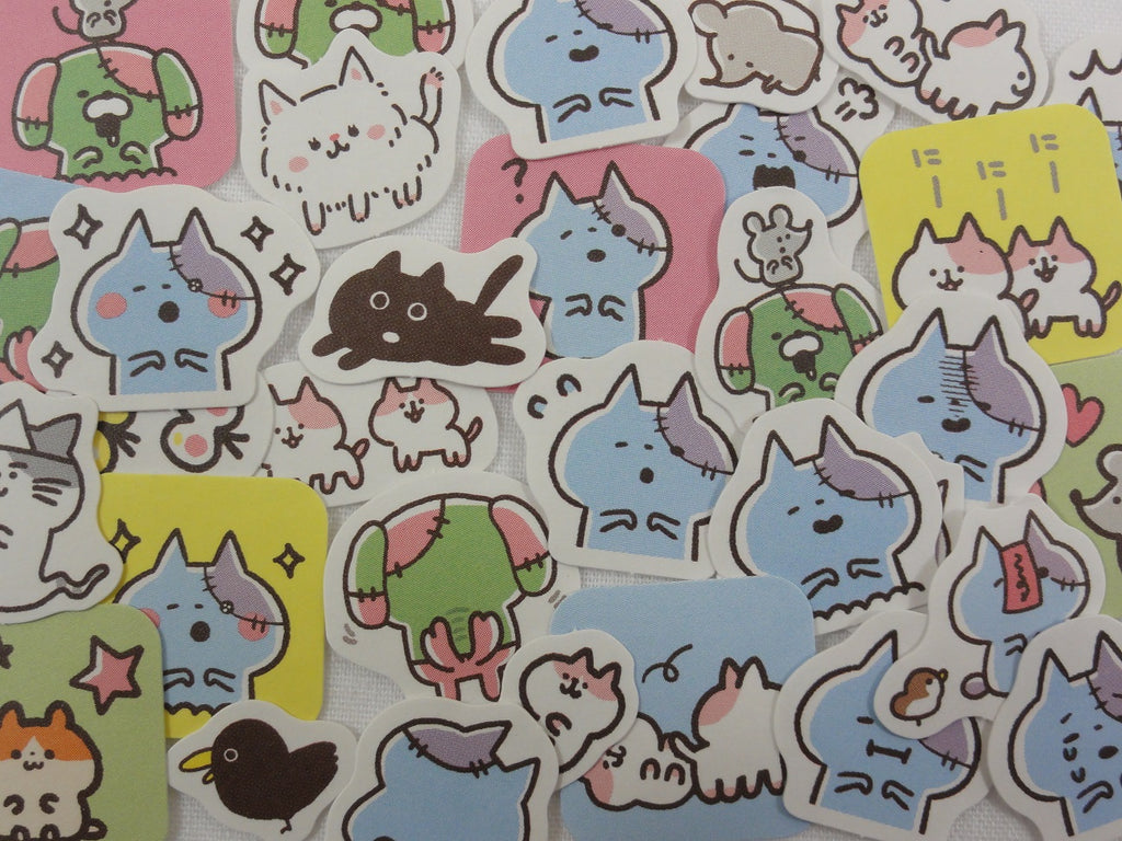 Cute Zombie Cat Flake Stickers - 32 pcs - for Journal Planner Craft