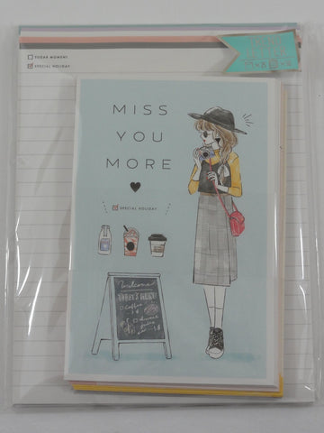Cute Kawaii Kamio Miss You Lady Letter Set Pack - Stationery Writing Paper Penpal